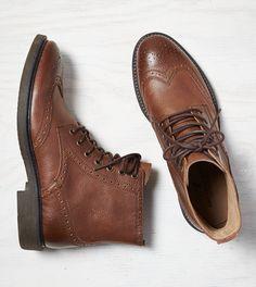 Cognac AEO Leather Wingtip Boot