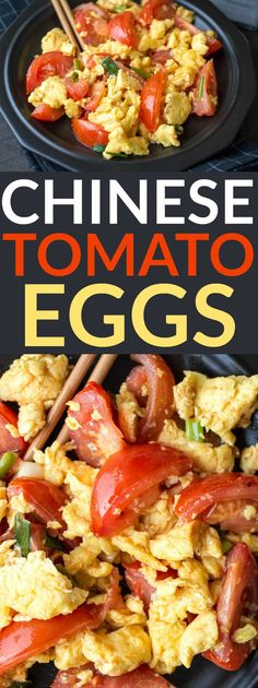 Chinese Tomato Eggs - The Wanderlust Kitchen Chinese Tomato Eggs are as simple as they are surprising - perfect for breakfast, lunch, or dinner!Chinese Tomato Eggs are as simple as they are surprising - perfect for breakfast, lunch, or dinner! Chinese Breakfast, Breakfast For Dinner, Breakfast Dishes, Breakfast Recipes, Tomato Breakfast, Egg Recipes, Brunch Recipes, Asian Recipes, Cooking Recipes