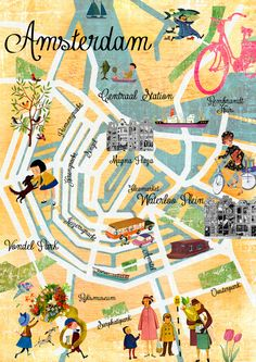 Vintage Amsterdam Map Collage poster print, wall art Art Print by Claudia Schoen