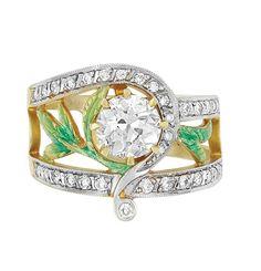 Masriera - Gold, Diamond and Enamel Ring.