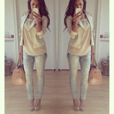 love these light colours...and are those jeans?  This outfit look so well put together it would be perfect for work