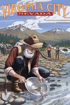 Lanquist 11 by 17-Inch Northwest Art Mall Sitka Alaska Gold Panner Artwork by Paul A
