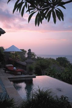 Soak in the sunset sky from a private plunge pool at @Mandy Dewey Seasons Resorts Bali.