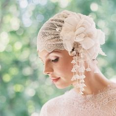 Embroidered silver lace bridal cap silk by EricaElizabethDesign, $485.00