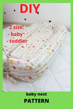 Pattern for sewing a baby nest with a removable mattress. Two size: - baby - toddler The cover is removble mattress. A cozy baby nest made of eco-friendly and hypoallergenic materials will create feeling of the kid's safety and comfort. Baby Nest Pattern, Baby Patterns, Free Pattern, Diy Baby Headbands, Preparing For Baby, Baby Birth, Simplicity Patterns, Little Ones, Baby Shower Gifts