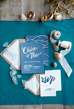 A blue-and-white wedding invitation suite by @samanthahuba | Brides.com