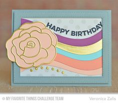 Wavy Greetings, Ride The Wave Die-namics, Polka Dot Background, Blueprints 22 Die-namics, Rose with Overlay Die-namics, Stitched Rectangle Frames Die-namics - Veronica Zalis #mftstamps