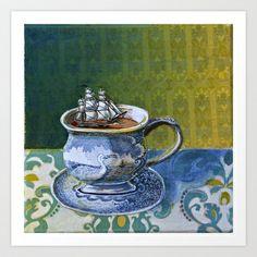 Sea Dog's tea cup Art Print by Smallest Forest - $18.00   ceramic tea cup design, seagull, ocean, seas, ship, sails.