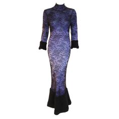 John Galliano Long Purple Gown with Black Lace | From a collection of rare vintage evening dresses at http://www.1stdibs.com/fashion/clothing/evening-dresses/ 1999 Very Spring 2014