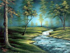 Bob Ross landscape painting art