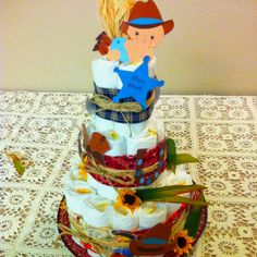 Baby Country Themed Diaper Cake by Wendy Garcia.