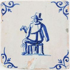 Antique Dutch tile with a musician playing the lute, 17th century
