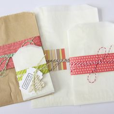 Layering packaging: Kraft/glassine + paper & bakers twine + tags