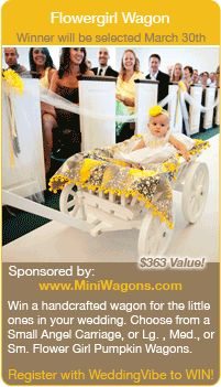 Win a Free a Flower girl Wagon in this Giveaway! Winner to be selected 3/30/15 Register at www.weddingvibe.com Keywords: #winflowergirlwagon #entertowin #bridalcontests #weddingcontests #jevelweddingplanning Follow Us: www.jevelweddingplanning.com www.facebook.com/jevelweddingplanning/