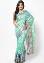 Supernet Cotton Fancy Contrast Zari Work Banarasi Sky Blue Saree