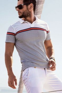 The term Polo shirt was originally used to describe the long sleeved, thick button down shirts used to play Polo. In the a tennis shirt embroidered with a polo player on it was the first of … Tennis Shirts, Tennis Clothes, Polo T Shirts, Men Clothes, Camisa Polo, Business Casual Men, Men Casual, Chic For Men, Polo Shirt Style