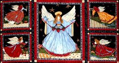 1 Panel Christmas Quilt Fabric Angels From Above by acquiltfabric