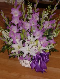 Purple  White Funeral Arrangement. From My Painted Garden Florist