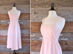 1970s sun dress / pastel pink empire waist by FancyLuckyVintage