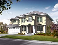 House Plan 87650 | Colonial Plan with 3500 Sq. Ft., 4 Bedrooms, 3 Bathrooms, 3 Car Garage