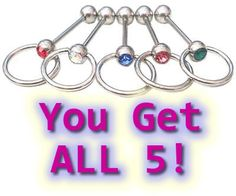 5 SLAVE Tongue Bar Bolts Body Jewellery 5 different colour czs - You get ALL 5. Today only 21/9/15 - $7.50 including FREE postage! Xmas pressie maybe??