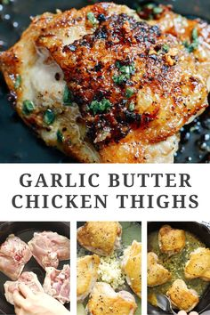 Garlic butter chicken thighs are easy to make and taste great with your favorite sides. The skin is perfectly crispy and the thighs are so juicy. Easily made in one plan, no marinating needed, and full of flavour, you can make this recipe for dinner tonight in just 30 minutes! Chicken Thighs Dinner, Keto Chicken Thighs, Chicken Thigh Marinade, Crispy Baked Chicken Thighs, Boneless Skinless Chicken Thighs, Garlic Butter Chicken, Baked Garlic, Healthy Chicken Thigh Recipes, Chicken Recipes