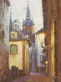 """Alleyway at Dusk, Prague'' ‹ Todd Williams. Unique Buildings, City Buildings, Prague Astronomical Clock, Prague Castle, Old Town Square, Building Art, City Streets, World Heritage Sites, Vienna"