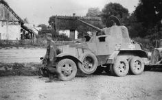 Captured Soviet BA-10 armored car with German markings, date unknown