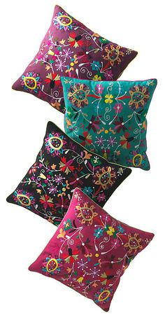 Cushion cover with multi embroidery 45 x 45cm