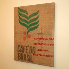 Repurposed CAFE DO BRASIL Coffee Bean Burlap Wall Art by j3decor, $38.00