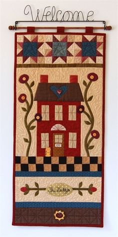 Chicken Coop Wall Hanging Applique Quilt.