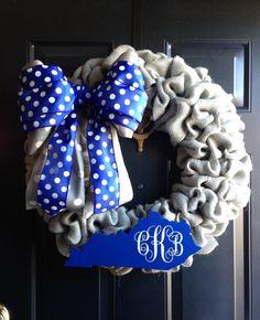 Blue Grey and White Burlap Kentucky Wreath by BluegrassAndBurlap