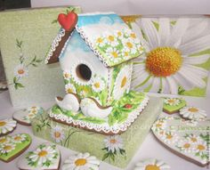 Купить Пряничный домик Ромашковое поле - пряничный домик, скворечник, ромашки…