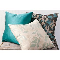 @Overstock - The Leaves decorative pillow set is highlighted by the soft nature themed pattern in brown, turquoise, and beige. The pillow set features a knife edge and a hidden zipper. http://www.overstock.com/Home-Garden/Leaves-18-inch-Square-Decorative-Pillows-Set-of-3/6640774/product.html?CID=214117 $54.99