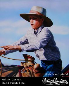 A young man confidently riding a horse - what a great shot to be transformed into a hand made painting. Oil on canvas by Picture Painters
