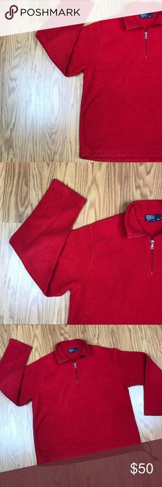 Men's Polo Ralph Lauren Red Fleece 1/2 Zip Sweater Preowned size large 💯 Authentic Polo by Ralph Lauren Sweaters