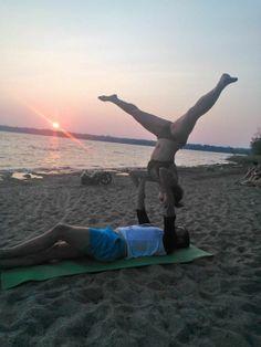Free Shoulder Stand at Westboro Beach at Sunset. #Acroyoga #Ottawa #Yoga