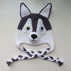 Husky Dog Hat Handmade Crochet Husky Character Hat by BabyByBecca