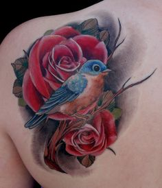 :New Jersey Tattoo Openings Art Junkies Tattoo Studio : two things I want! Blue bird and roses :D