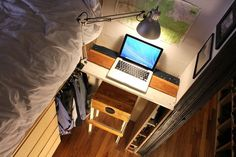 Tiny studio apt transforms into two bedroom with large kitchen and entertainment space. Studio Apartment Floor Plans, Studio Apartment Layout, Tiny Studio, Studio Apt, Small Room Design, Tiny House Design, Two Bedroom Apartments, Small Apartments, Apartment Living