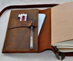Hervulbare lederen travel Journal notebook (gratis initialen)