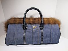 Clever Carriage Denim Doctor Satchel Purse Fur Trim Embossed Leather Sides  #CleverCarriage #DoctorsSatchel #womenhandbags
