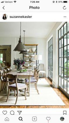 Awesome Farmhouse Dining Room Design Ideas – Best Home Decorating Ideas Modern Farmhouse, Farmhouse Table, Farmhouse Decor, Southern Farmhouse, Farmhouse Design, Dining Room Inspiration, Large Windows, Steel Windows, Black Windows