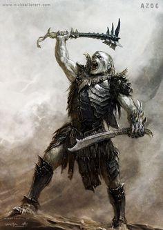 The Hobbit: The Desolation of Smaug Concept Art by Nick Keller Dark Fantasy, Fantasy Rpg, Medieval Fantasy, Fantasy World, Hobbit Art, Tolkien, Fantasy Races, Fantasy Warrior, Monsters