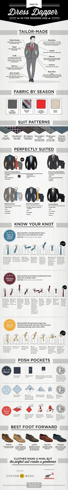 How to Dress Dapper in the Modern Age - Guys here is another fabulous and comprehensive men's fashion guide on how to dress dapper in the modern age. It's a men's suit guide covering fabrics, patterns, ties, pocket squares and shoes. Choose the elevator shoes from Topoutshoes