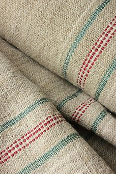 vintage homespun hemp yardage for upholstery - this would be pretty as a border on a handwoven towel.