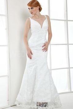 White V-Neck Lace Beaded Floor Length Mermaid Trumpet Bridal Gown - Wedding Dresses - Wedding Cheap Prom Dresses, Dresses For Sale, Bridesmaid Dresses, Formal Dresses, Party Dresses, Wedding Gowns, Bridal Gown, Lace Wedding, Beaded Lace