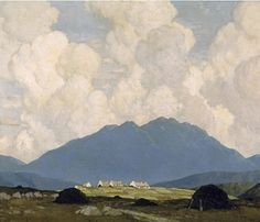 A Connemara Village by Paul Henry, Irish, 1876-1958. Henry trained in Belfast before going to Paris.  This scene looks east from the quay on Clifden Road just west of Letterfrack in County Galway in the Irish republic. The mountain is Doughruagh. The painting also shows the isolation of rural Irish communities with the small cluster of houses and the turf stacks in the fields.
