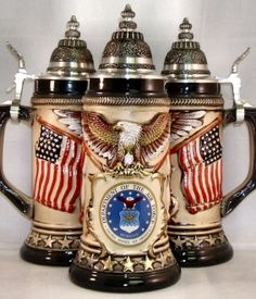 Zoeller & Born US Marine Corps Rustic German Beer Stein Liter. This attractive stoneware stein has a pewter lid. This beautiful beer stein was handcrafted in Germany by Zoller & Born. Approximately inches tall Us Air Force, Beer Glassware, German Beer Steins, Beer Mugs, Beer Lovers, Craft Beer, Stoneware, Germany, Rustic