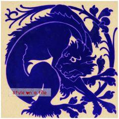 Arts & Crafts Blue Cat Panther Leopard Tiger Lion large